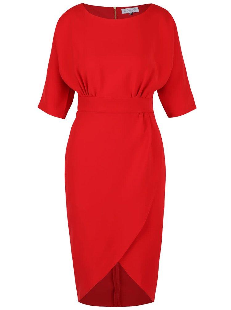 Červené šaty s překládanou sukní Closet