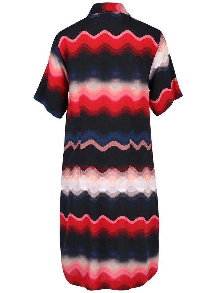 Červeno-modré volnější vzorované šaty s límečkem Closet