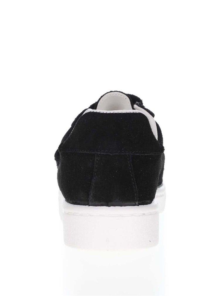 Čierne kožené tenisky na suchý zips Pieces Siri