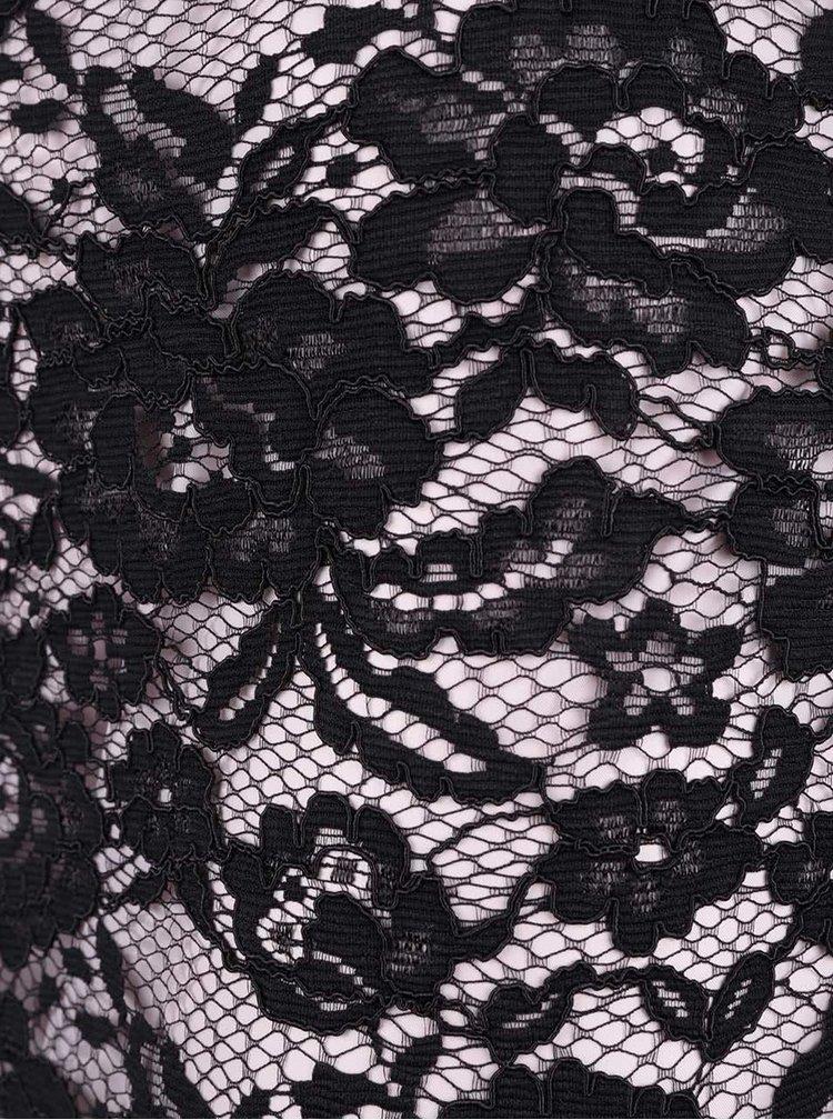 Fustă roz cu dantelă neagră Miss Selfridge