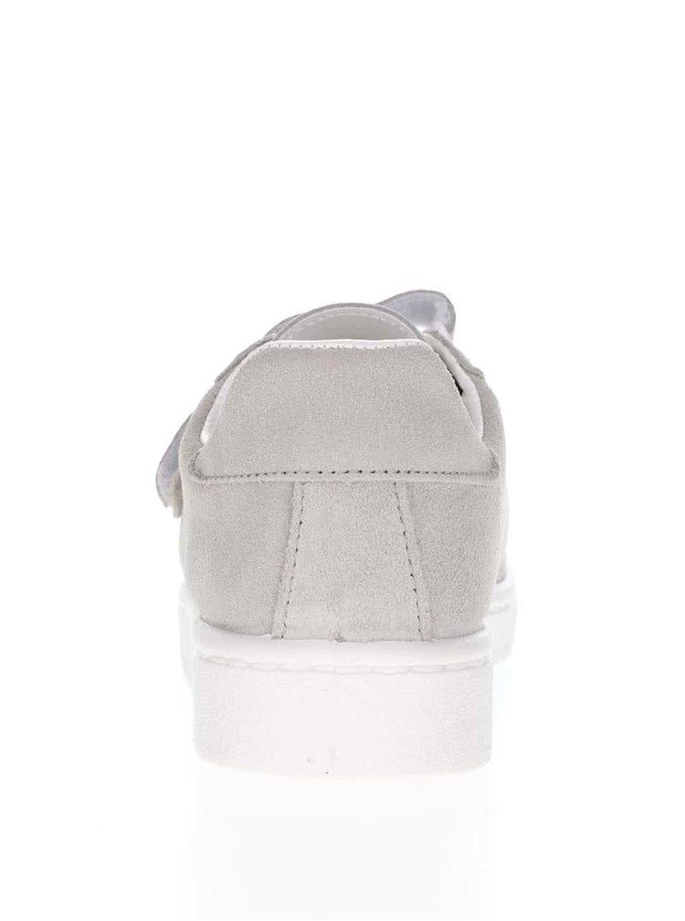 Sivé kožené tenisky na suchý zips Pieces Siri