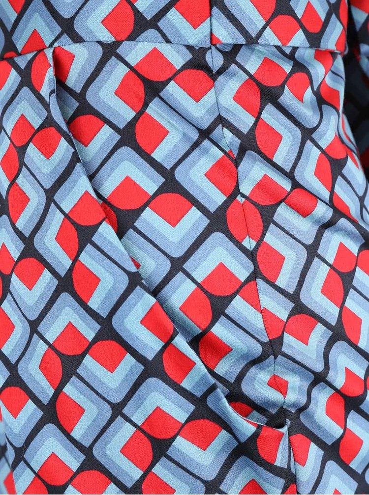 Červeno-modré vzorované šaty Closet