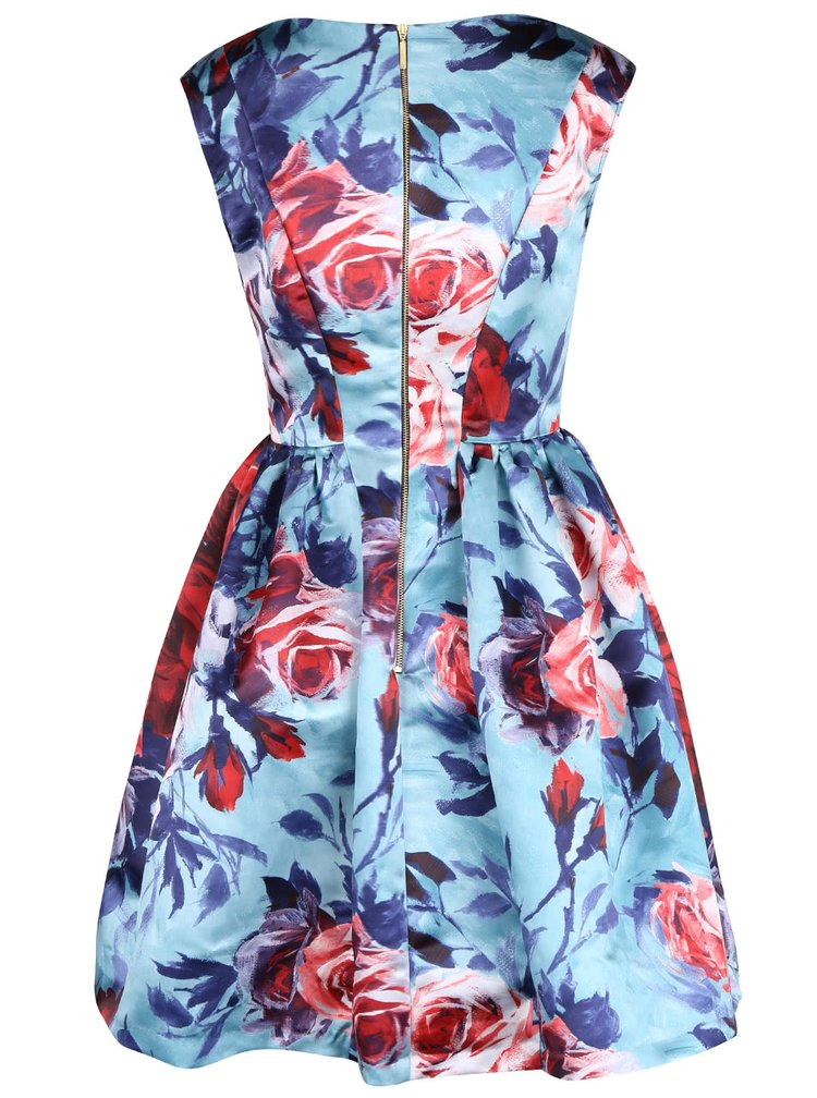 Modré šaty s potiskem růží Closet