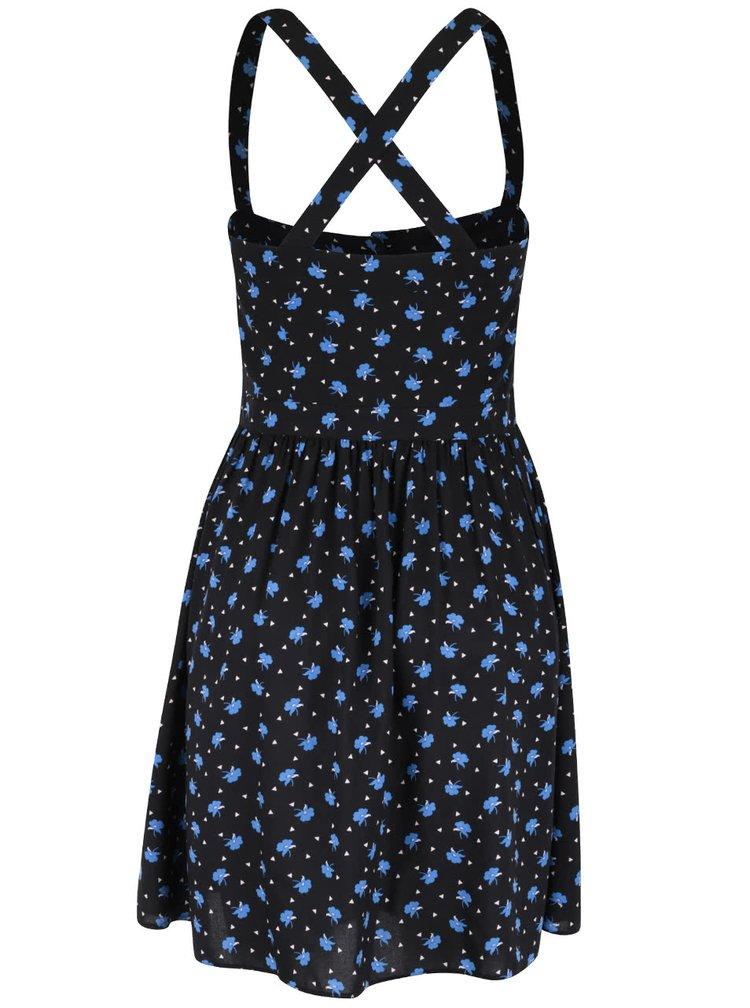 Čierne šaty s potlačou modrých kvetov Miss Selfridge