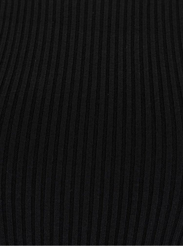 Čierne rebrované šaty s odhalenými ramenami Miss Selfridge