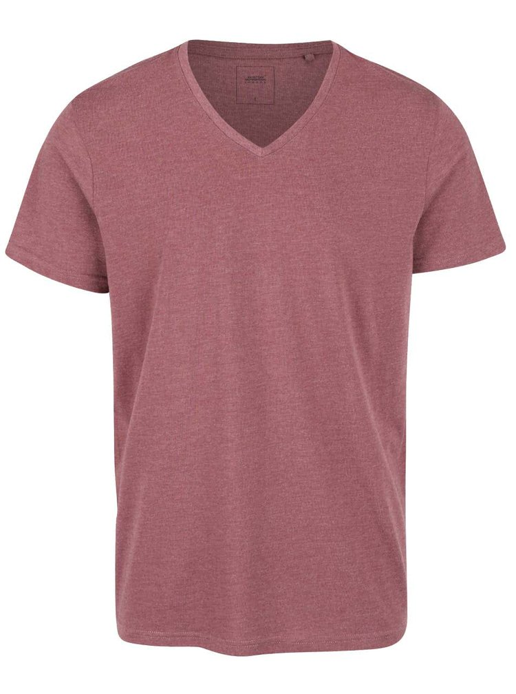 Vínové melírované tričko s véčkovým výstrihom Burton Menswear London