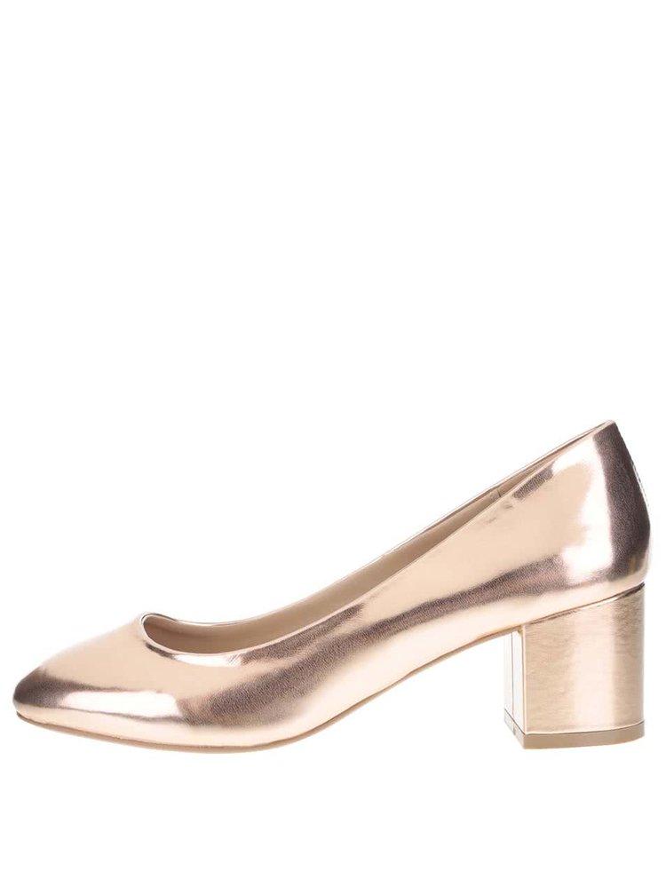Ružovo-zlaté lesklé lodičky Dorothy Perkins