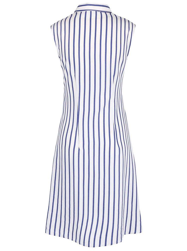 Modro-krémové pruhované šaty so stuhou Closet