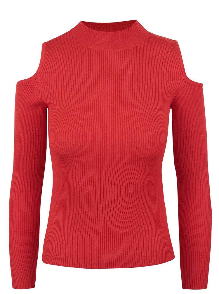 Červený žebrovaný svetr s odhalenými rameny Miss Selfridge