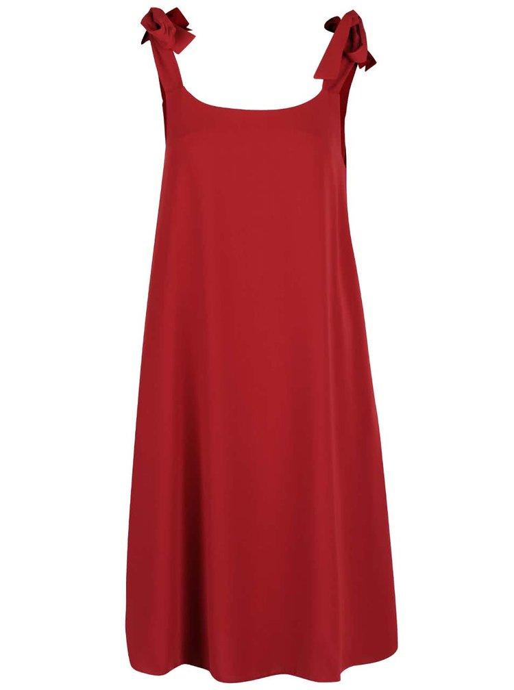 Vínové šaty se zavazovacími ramínky Closet