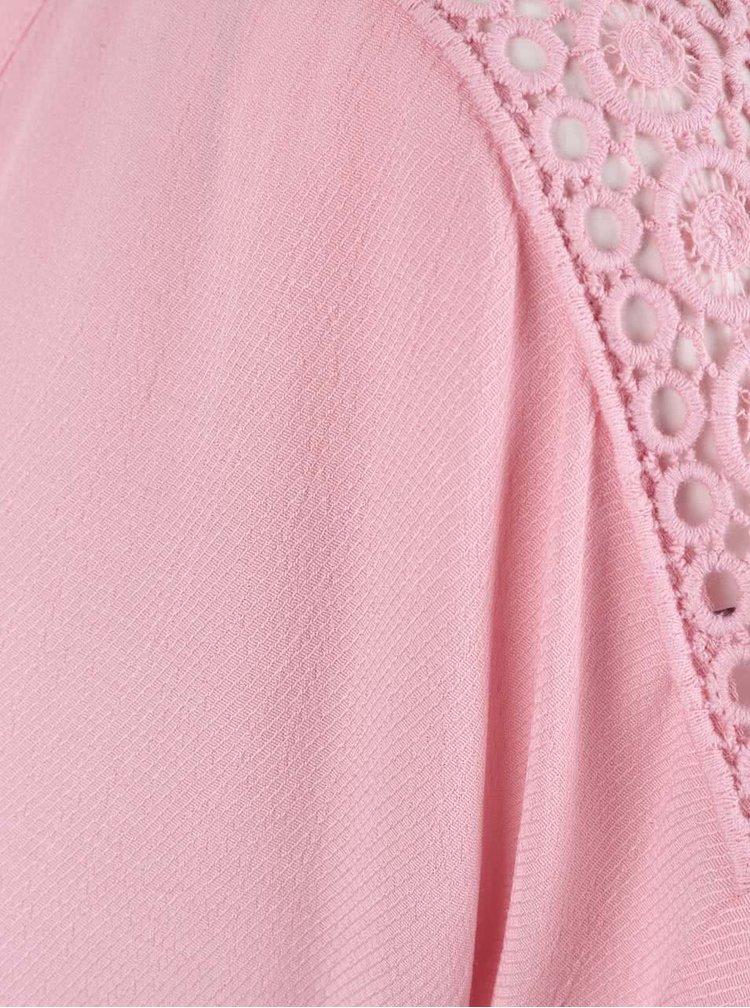 Růžová halenka s krajkou na rukávech Miss Selfridge