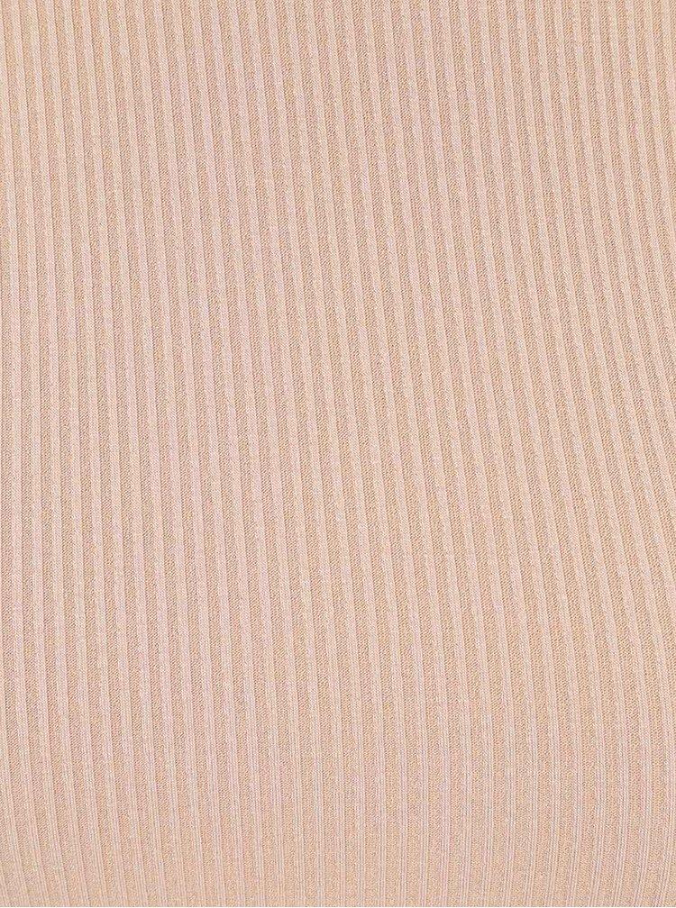 Béžové žebrované body s odhalenými rameny Miss Selfridge