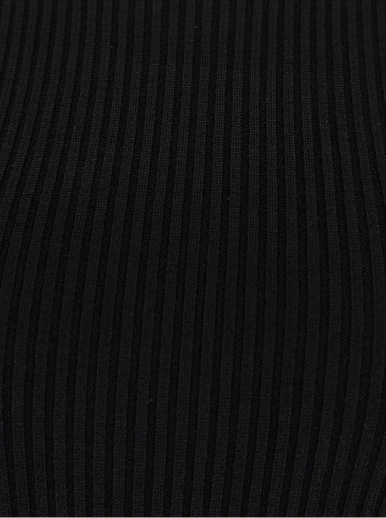 Černé žebrované body s odhalenými rameny Miss Selfridge