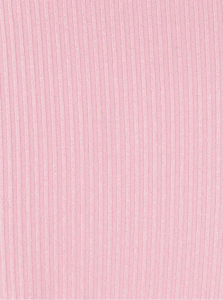 Světle růžový žebrovaný kratší top s odhalenými rameny Miss Selfridge