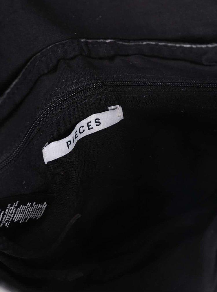 Černá kožená crossbody kabelka Pieces Pibsy