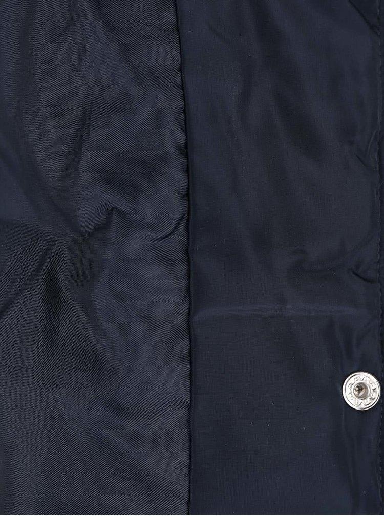 Tmavě modrá prošívaná bunda s bílým kožíškem Dorothy Perkins