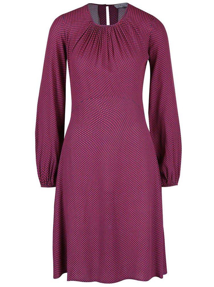 Modro-ružové bodkované šaty s dlhými rukávmi Closet