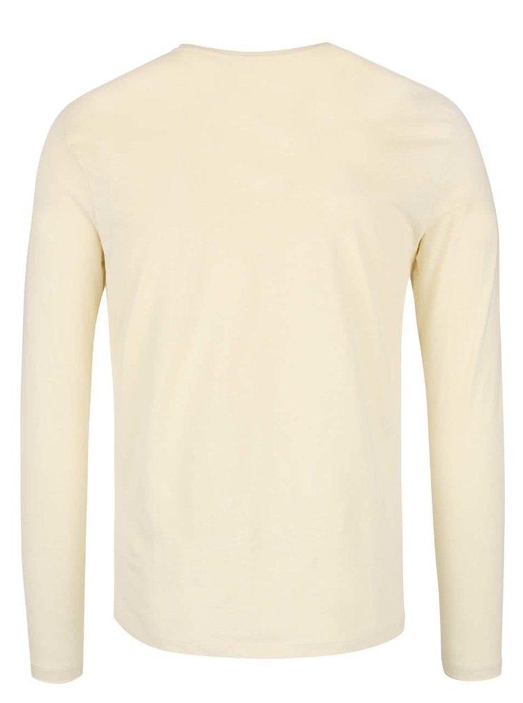 Světle žluté triko s potiskem a dlouhým rukávem Blend