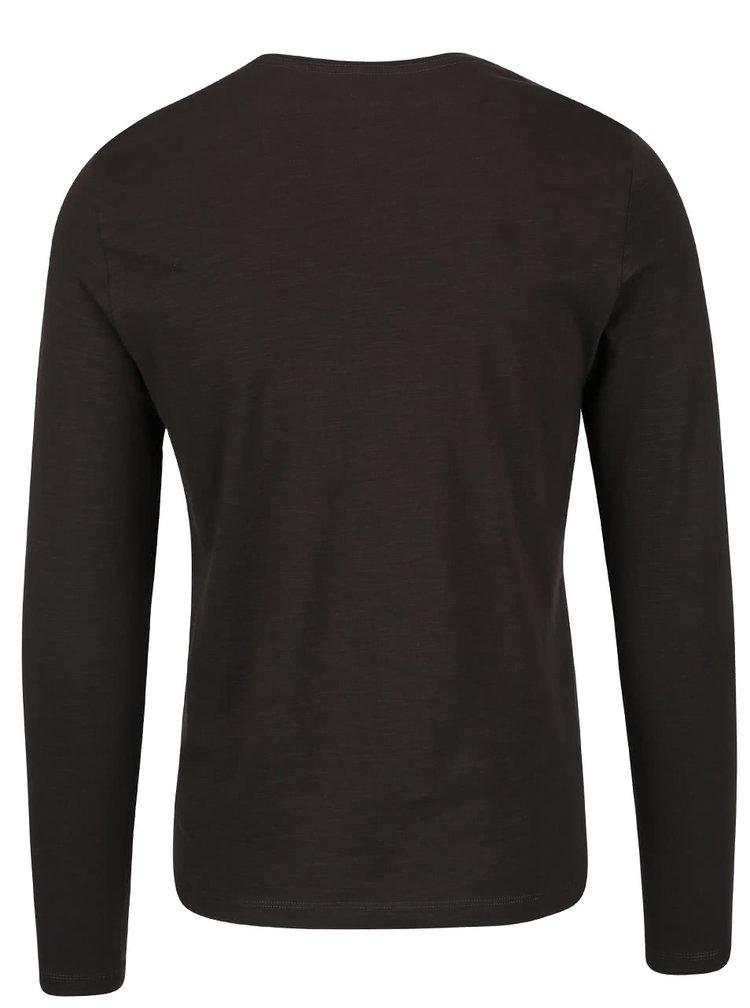 Zeleno-hnedé tričko s potlačou a dlhým rukávom Blend