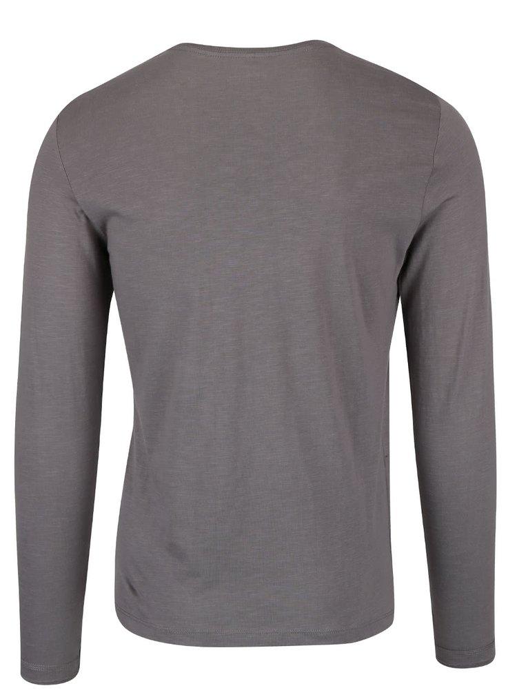 Hnědo-šedé triko s potiskem a dlouhým rukávem Blend