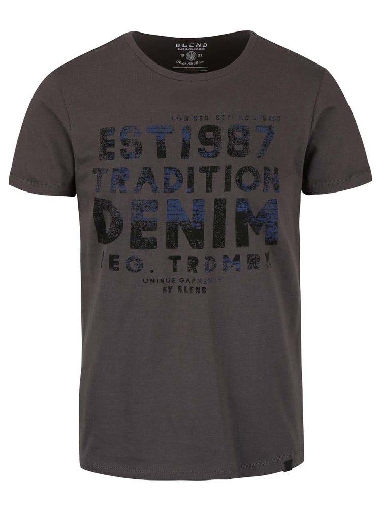 Sivé tričko s potlačou Blend