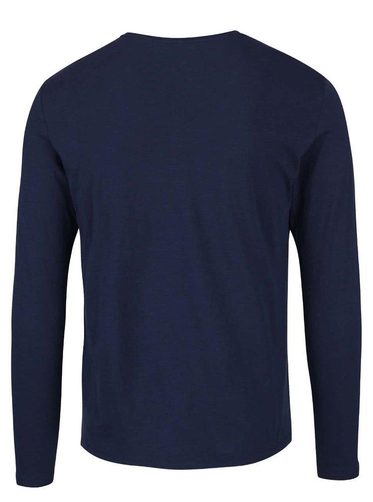 Tmavomodré tričko s potlačou a dlhým rukávom Blend