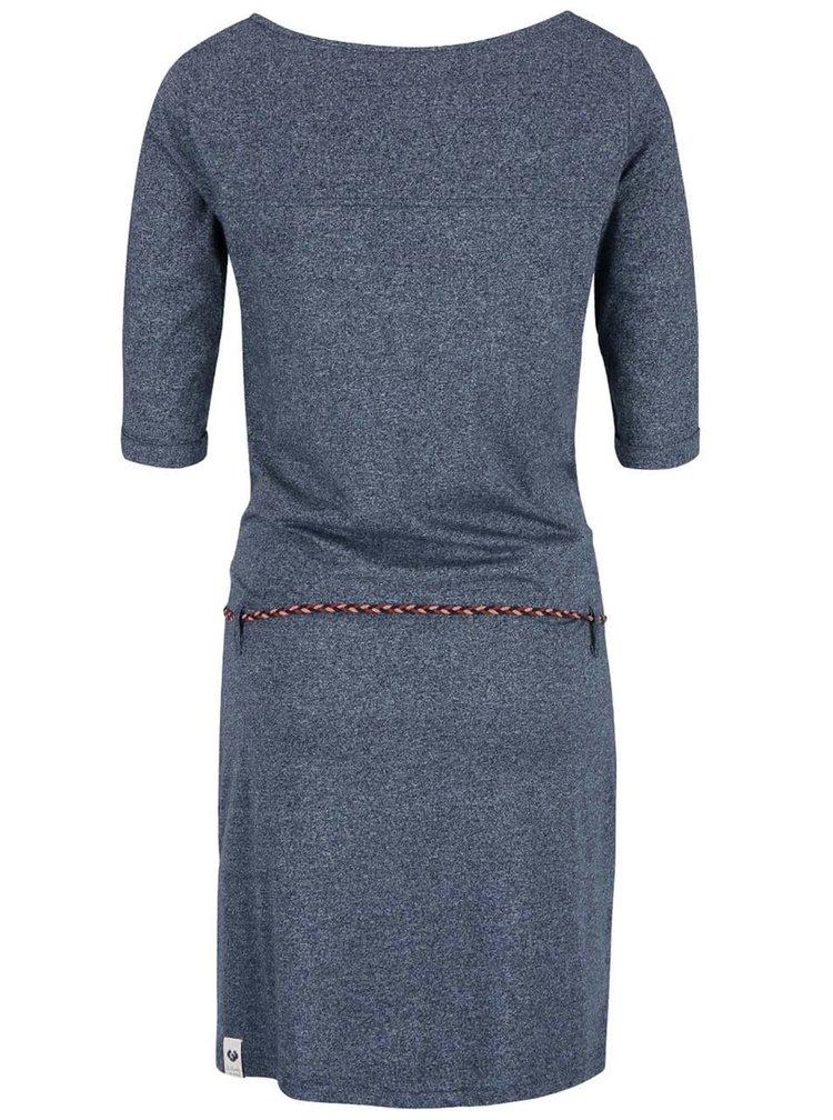 Tmavomodré melírované šaty s opaskom Ragwear Tanya Organic