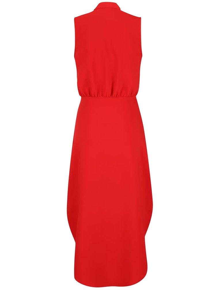 Červené dlouhé šaty s knoflíky ve zlaté barvě Closet