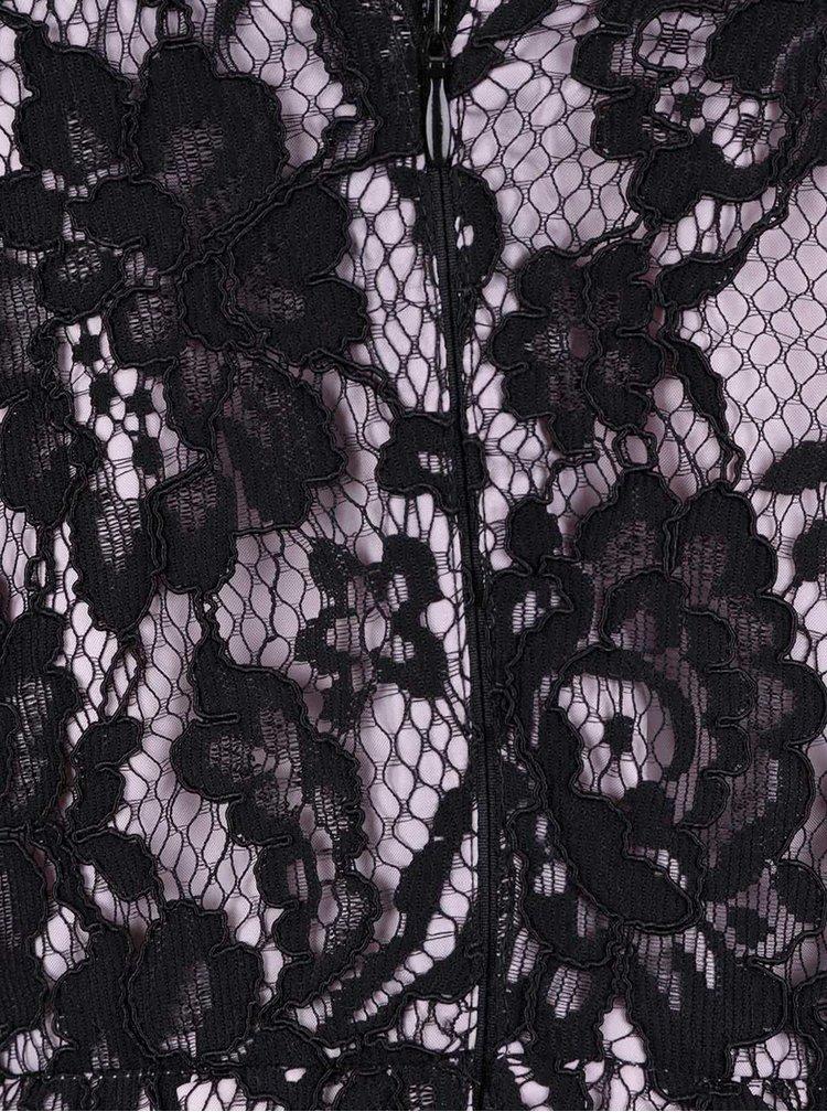 Čierno-ružový čipkovaný top s volánom Miss Selfridge