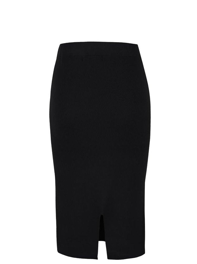Černá midi žebrovaná sukně s rozparkem VERO MODA Glory