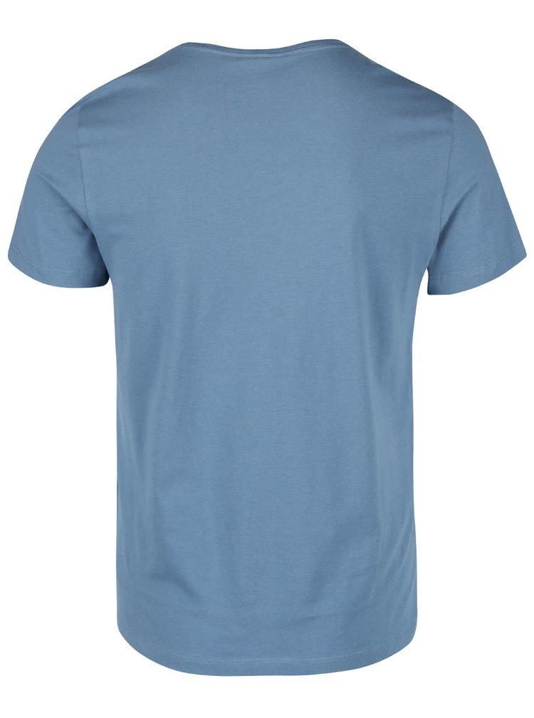 Tricou albastru din bumbac Blend cu imprimeu