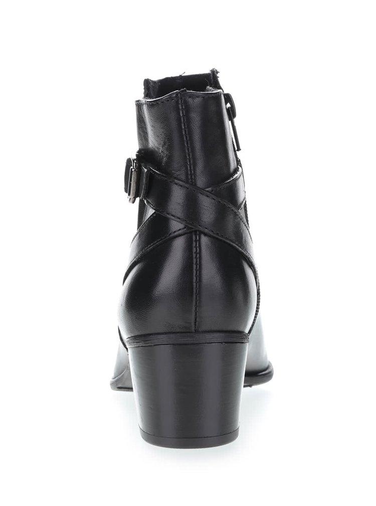 Čierne kožené topánky s prackou Tamaris