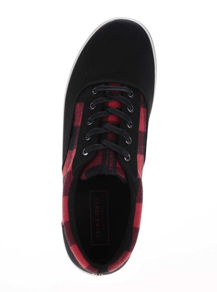 Červeno-černé kárované tenisky Jack & Jones Vision