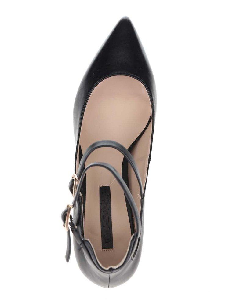Čierne topánky na podpätku s remienkami Miss Selfridge