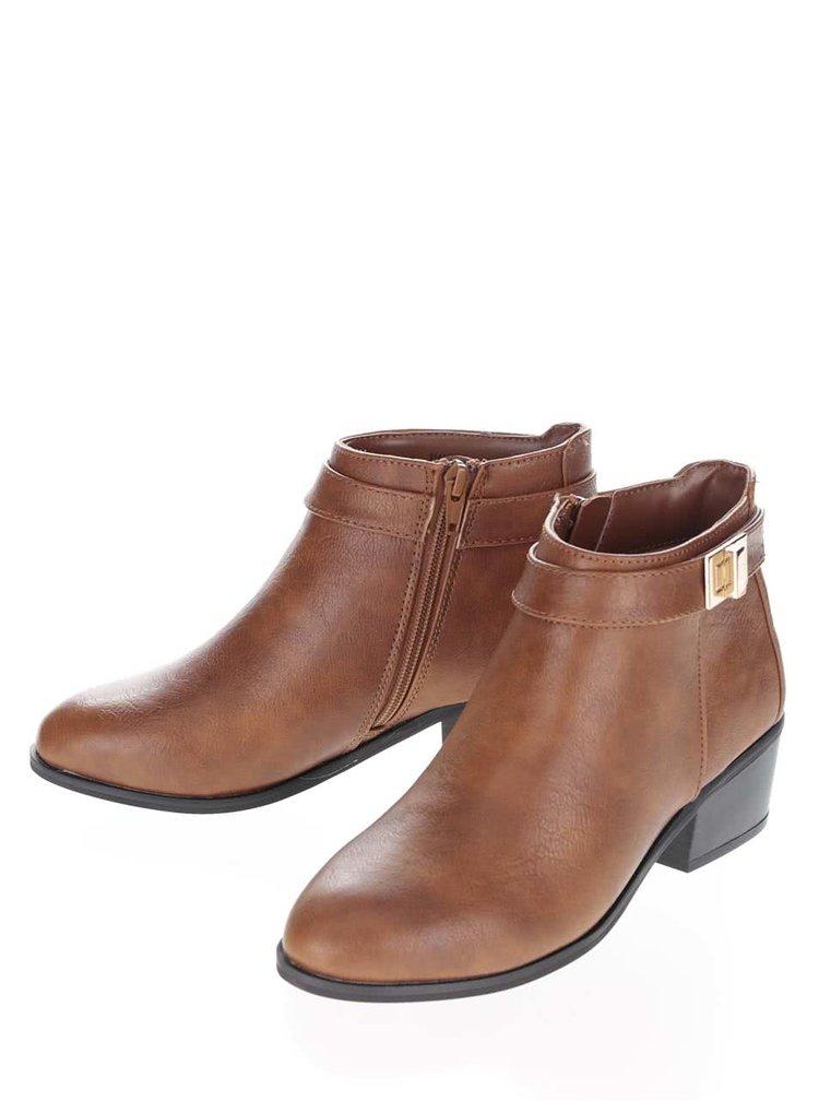 Hnedé členkové topánky s detailmi v zlatej farbe Miss Selfridge