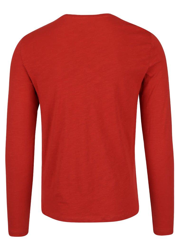 Cihlové triko s potiskem a dlouhým rukávem Blend