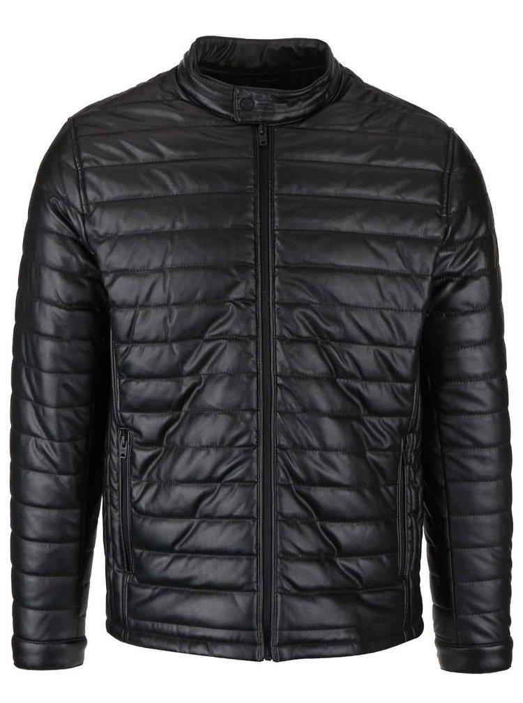 Černá koženková prošívaná bunda Jack & Jones Copu