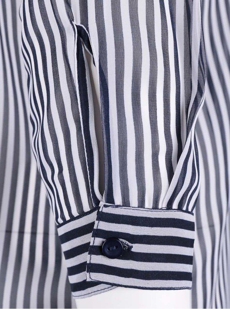 Tmavě modrá pruhovaná průhledná košile s dlouhým rukávem VERO MODA Mary