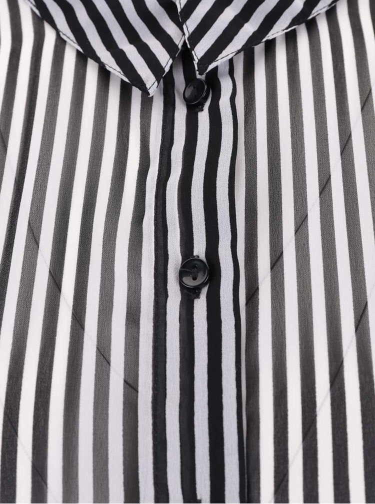Černá pruhovaná průhledná košile s dlouhým rukávem VERO MODA Mary