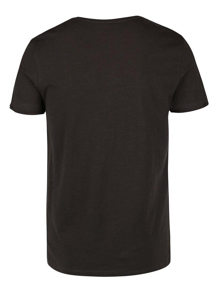 Zeleno-hnedé tričko s potlačou Blend