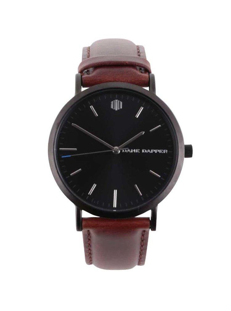 Čierne pánske hodinky s koženým remienkom Lucleon Lucas