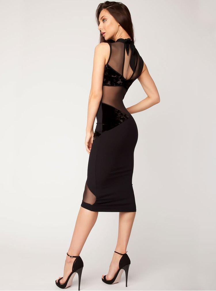 Čierne šaty s priehľadnými a zamatovými detailmi Quontum