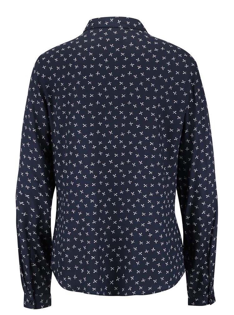 Tmavomodrá vzorovaná košeľa s dlhým rukávom VERO MODA Scissor