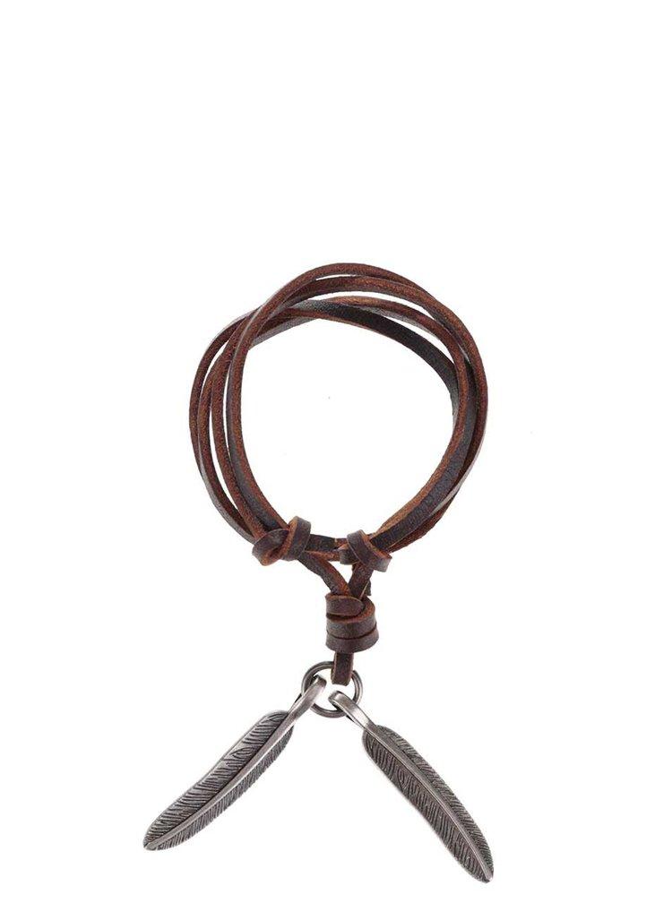 Hnedý pánsky kožený náhrdelník s pierkami Lucleon Feather