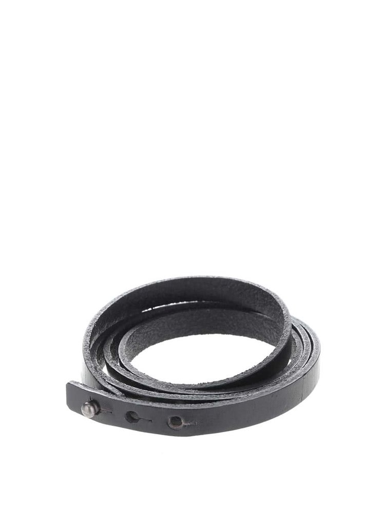 Čierny pánsky kožený náramok Lucleon Winkel