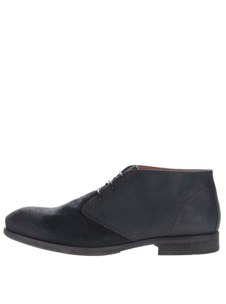 Modročerné kožené kotníkové boty Selected Homme Bolton