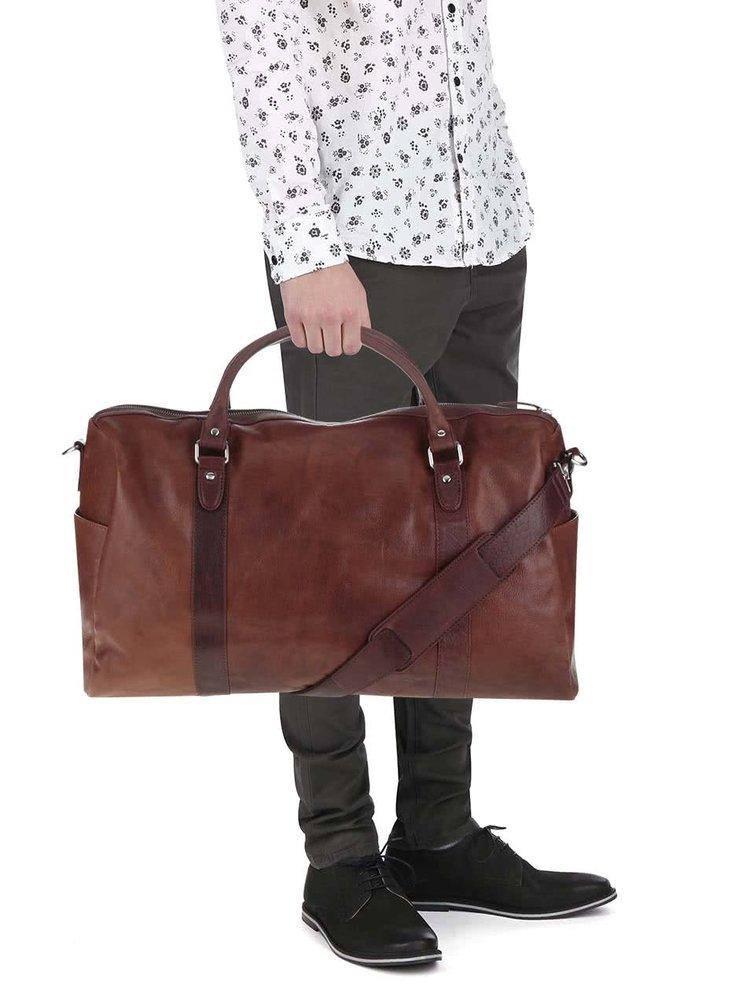 Svetlohnedá pánska kožená cestovná taška Lucleon California