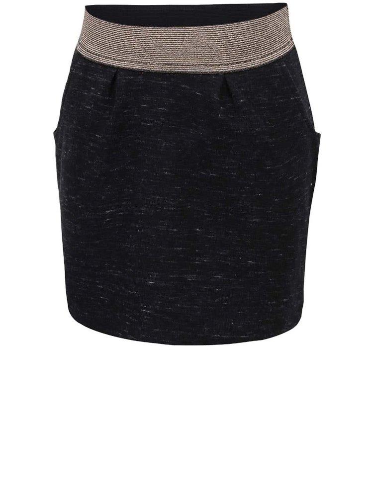 Černá žíhaná holčičí sukně s gumou ve zlaté barvě name it Lumina