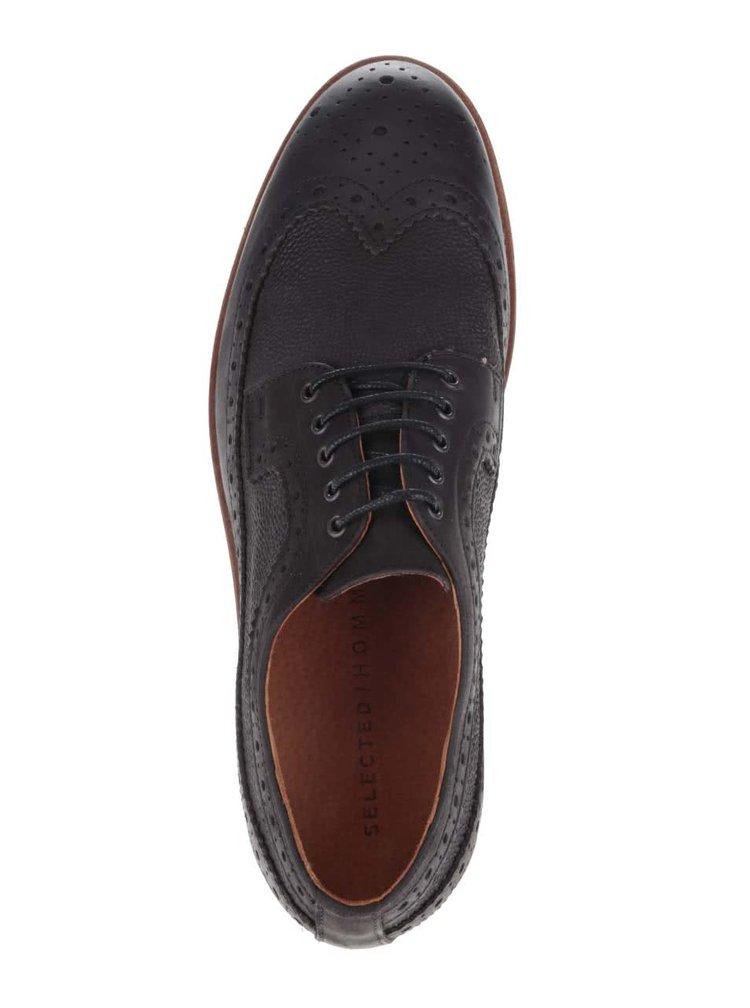 Pantofi brogue maro închis Selected Homme Hrud din piele