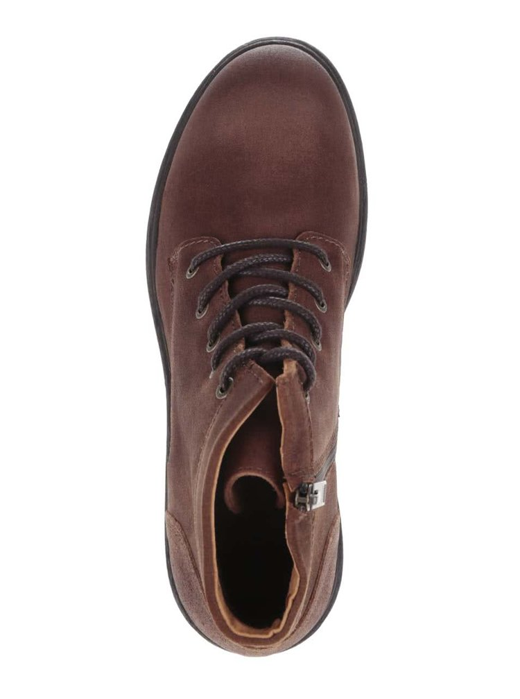 Hnědé kožené kotníkové boty Selected Homme Trevor
